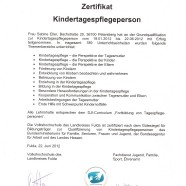 Zertifikat Kindertagespflegeperson